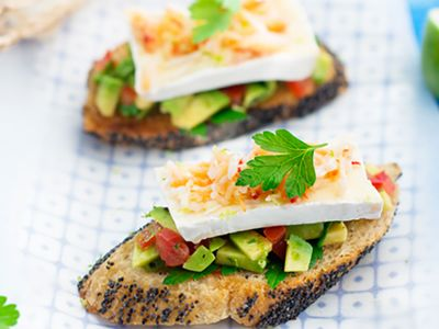 Recette : Tartine avocat-crabe au fromage - Recette au fromage